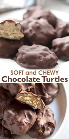 These soft and chewy Chocolate Turtles are so EASY to make and include clusters of homemade microwave caramel and toasted pecans, dipped in chocolate. They just may be the best homemade candy around! Chocolate Candy Recipes, Chocolate Treats, Fudge Recipes, Dessert Recipes, Chocolate Chocolate, Dipping Chocolate, Homemade Chocolate Bars, Chocolate Clusters, Chocolate Making