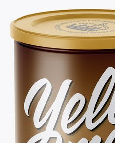 Matte Coffee Tin Can Mockup (High-Angle Shot)