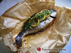 Τσιπούρα στη λαδόκολα Greek Recipes, Desert Recipes, Fish Recipes, Seafood Recipes, Cooking Recipes, Healthy Recipes, Greek Fish, Organic Recipes, Gastronomia