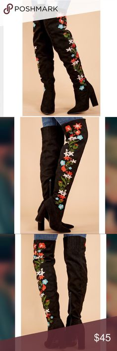 Floral Embroidered Boots Beautiful floral embroidered over the knee boots. NIB. Shoes Over the Knee Boots