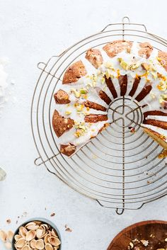 pistachio bundt cake with orange blossom water