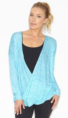 Reversible Supreme Knit Drop Drape Top by BEYOND YOGA in Heather Deep Sea Blue