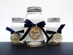 Rustic Country Wedding Sand Unity Ceremony Mason Jar Set. $24.99, via Etsy.