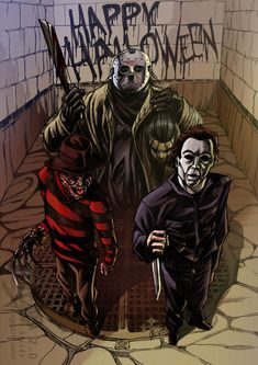 Freddy Krueger(left) Jason Voorhees(center) and Michael Myers ^^ Horror Icons, Horror Art, Horror Movie Characters, Horror Movies, Halloween Horror, Happy Halloween, Halloween Ii, Halloween Costumes, Geeks