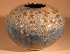 Reduced crystalline vase...love the gold trim on the lip. by Bill Boyd.