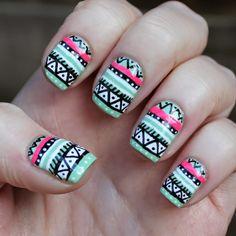 Mint and hot pink Aztec Nail Art inspired by WAH Nails