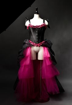Size Small black and hot pink tulle burlesque prom by Glamtastik, $379.00