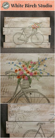 Pallet Antique bike, spring flowers, Spring FARMHOUSE collection, White wash, Rustic shabby, Reclaimed pallet wood  This is the main design for the Spring FARMHOUSE Collection. This white washed piece would be a great, personal touch to your Spring and Summer decor at home or at your cottage.