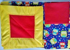 Owls Blanket Set - Owl Blanket - Owl Pillowcase - Baby Blanket- Toddler Blanket - Kids - Adult - Handmade Throw by PearlsHomespun on Etsy #owl, #owls, #blanket, #pillowcase, #set, #handmade, #kids, #adults, #primary, #colors, #gift, #bayshower, #owllover