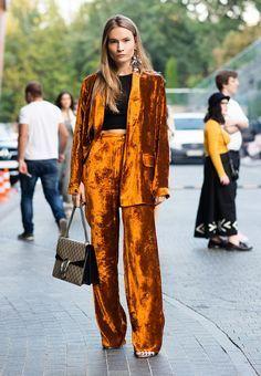 Velvet suit in orange.