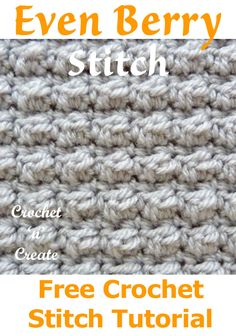 crochet stitches patterns Free Crochet Stitch Tutorial Even Berry Stitch - The berry stitch creates a close bubble type effect, which will be great for bags, blankets, scarves Crochet Stitches Free, Crochet Shell Stitch, Crochet Gratis, Tunisian Crochet, Crochet Blanket Patterns, Knitting Stitches, Free Crochet, Simple Crochet, Sock Knitting