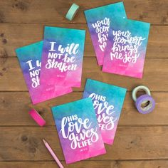 Set of 6 Watercolour Christian Postcards Encouraging Bible Verses, Bible Encouragement, Psalm 94 19, Pop Collection, Happy Mail, Brighten Your Day, New Product, Postcards, Super Excited