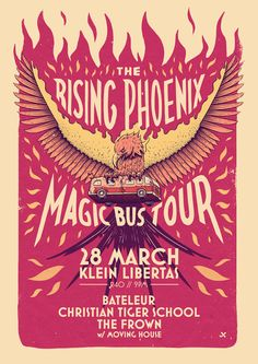 Rising Phoenix Magic Bus Tour by Ian Jepson, via Behance