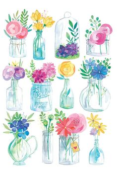 This is a digital print of my original watercolor and white india ink Glass Jars illustration! Printed on 216 gr textured paper, inches. Watercolor Cards, Watercolor Illustration, Watercolour Painting, Watercolor Flowers, Painting & Drawing, Watercolors, Flower Art Drawing, Watercolor Techniques, Doodle Art