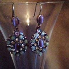 Lovely White Crystal ,Purple and Opal Earrings These earrings are so pretty and only worn twice. Bronze undertones Jewelry Earrings
