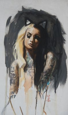 Ithink if lint atattoo that resembles that of a painting... with brush strokes. Tattooed woman oil painting by Chris Guest