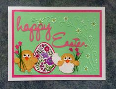Easter card using stampin up owl punch for chicks, embossed background and a stamped and coloured Easter egg.