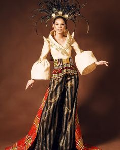 Miss Supranational Philippines! Jehza Mae Huelar, On her National Costume by Russell Yasay. The costume is a contemporary equivalent of… Philippines Outfit, Philippines Fashion, Modern Filipiniana Gown, Flag Dress, Dress Design Sketches, 1950s Outfits, Festival Costumes, Royal Dresses, Ethnic Dress