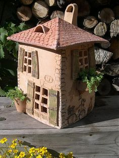 Dekorácie - Domček ...  na objednávku - 817586 Clay Houses, Ceramic Houses, Miniature Houses, Ceramic Clay, Ceramic Pottery, Clay Fairy House, Fairy Houses, Ceramics Projects, Clay Projects