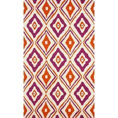 nuLOOM Hand-hooked Modern Diamond Trellis Orange Rug (5' x 8')