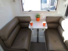 The seating arrangement in the Overland series. We design the caravans so we can create a layout that suits you. Caravans, Gold Coast, Layout, Range, Suits, Create, Furniture, Design, Home Decor