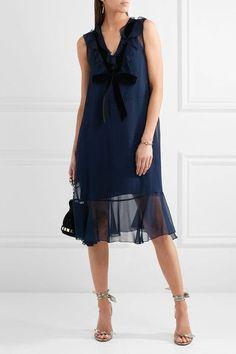 See by Chloé | Velvet-trimmed ruffled chiffon dress | NET-A-PORTER.COM