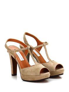 L'Autre Chose D'Archive - Sandalo alto - Donna - Sandalo alto in pelle con cinturino su collo piede e suola in cuoio e gomma. Tacco 105, platform 25 con battuta 80. - TAUPE