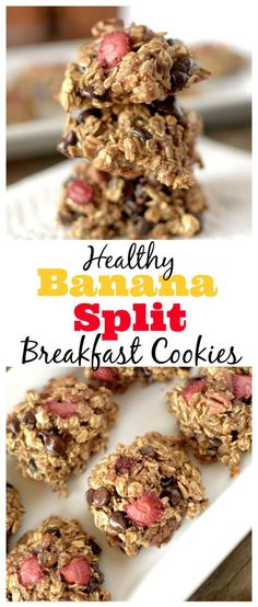 Easy-to-make, healthy and delicious Banana Split breakfast cookies that taste like that original thing! Also Gluten-free and can be vegan! The Ultimate Pinterest Party, Week 90