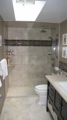 Bathroom Designs For Small Bathroom add a walk-in shower that enhances a small bathroom's usefulness