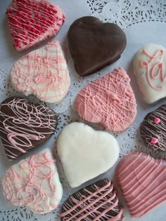 Brownies, Valentines brownie hearts 3 inch Brownies Coated with Chocolate, Pink, White, Chocolate 12 Hand Made Hearts. $24.99, via Etsy.