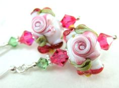 Pink Rose Earrings Cameo Rose Floral Lampwork by GlassRiverJewelry, $31.00