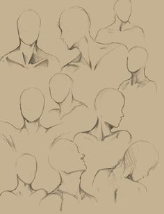 Body Kun & Body Chan - Manga figures for artists - illustrations Human Figure Drawing, Drawing Practice, Drawing Lessons, Figure Drawing Reference, Drawing Tips, Neck Drawing, Drawing Heads, Drawing Faces, Pencil Art Drawings