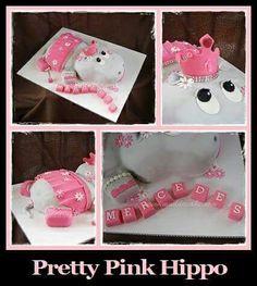 Pretty Pink Hippo Cake #cake #birthday #muddacake