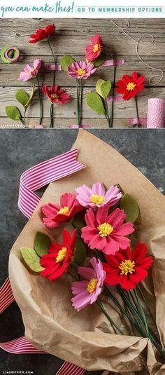Learn how to make a gorgeous DIY felt cosmos flower - Lia Griffith - www.liagriffith.com #felt #feltcute #feltflowers #feltcraft #feltcrafts #diyflowers #diyinspiration #diyidea #diyideas #madewithlia