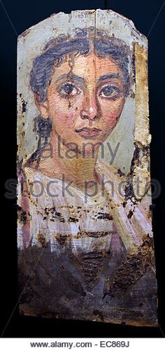 Encaustic roman-Egyptian mummy portraits from Fayum in Egypt; 150 AD - Stock Image