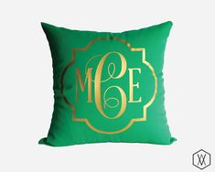 Gold Monogram Throw Pillow Cover - Gold, Silver, and More - Quatrefoil Monogram Pillow Cover - Kelly Green
