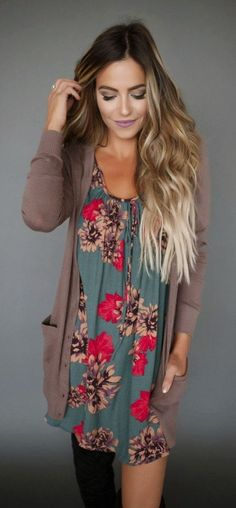 Love the idea of a bright printed dress with a neutral cardigan. Add in some boots and it's all fall!!
