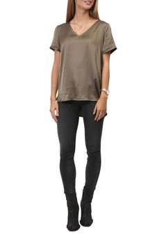 Khaki V-Neck High Shine Tee - Jessimara Shirt Blouses, Shirts, Johnny Was, Eileen Fisher, Women's Tops, Fashion Ideas, Black Jeans, V Neck, Tees