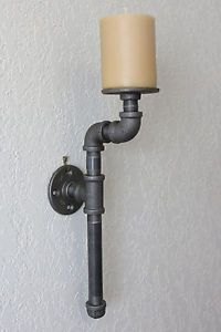 Industrial Type Candle Holder 1 Candle Sconce Black Pipe Steampunk Urban Rustic | eBay