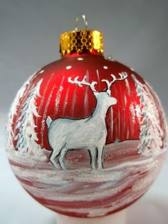 Woodland Deer Hand Painted Red and White Snow Glass Ball Christmas Ornament  $15.00