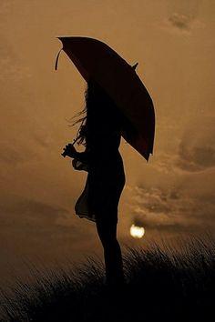 Silhouette against an autumn sky. Umbrella Art, Under My Umbrella, Silhouette Photography, Art Photography, Silhouettes, Shadow Silhouette, Singing In The Rain, Foto Art, Rain Drops