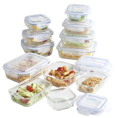 VonShef 12 Piece Glass Container Food Storage Set with Lids Free 2 Year Warranty. VonShef 12 Piece Glass Container Food Storage Set with 12 Clip Top Lids. Keeping food fresh and delicious is simple with the VonShef 12 Piece Glass Container Storage Set. Glass Storage Containers, Glass Food Storage, Glass Containers, Tupperware, Tapas, Freezer Friendly Meals, Storage Sets, Storage Boxes, Lunch Meal Prep
