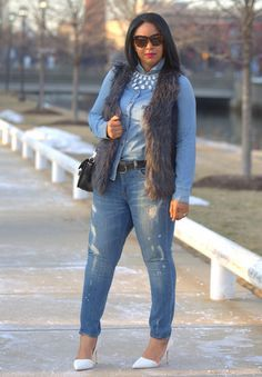 Canadian Tuxedo (With a Twist) - What I'm Wearing: H&M Teardrop Rhinestone Necklace, Faux Fur Vest, J.Crew Beaded Chambray Boy Shirt, Proenza Schouler PS11 Bag, Vince Distressed Jeans, French Connection Ellis Studded Pointy Toe Pump