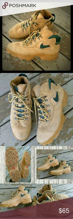 Vintage Air Nike Boots Lace up Nike boots  Used Vintage Condition good & worn in which gives these boots character.  Size 10 men's  Have any questions feel free to ask Before purchasing!!!!  Ships Same/Next day Mon-Fri No trades  Bundle 2 items & Save 15% Nike Shoes Boots