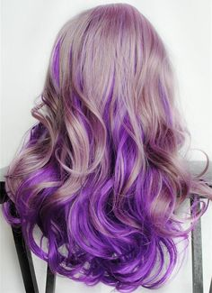 Purple ombre hair color with golden brown, amazing hair color~