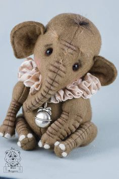 Silas By Ellen Borggreve - Bear Pile Little Elephant, Cute Elephant, Handmade Stuffed Animals, Teddy Toys, Bear Doll, Sewing Toys, Stuffed Animal Patterns, Felt Animals, Handmade Toys