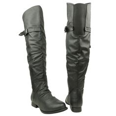 Womens Knee High Boots Zipper and Buckle Flat Casual Comfort Shoes black