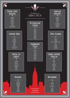 Art Deco New York Wedding Table Plan