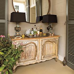 sideboard on a porch