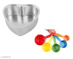 Baking Mould Combo Set of Aluminium Heart Shape Cake Mould with 5 Pieces Color Measuring Cups & Spoons Set Material: Aluminium Sizes:  Free Size Country of Origin: India Sizes Available: Free Size   Catalog Rating: ★4 (945)  Catalog Name: Unique Cake Tins CatalogID_2427913 C137-SC1600 Code: 242-12568119-684
